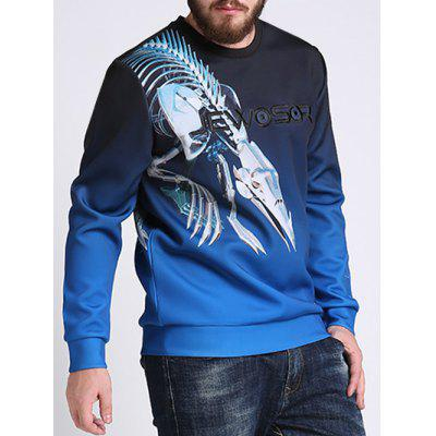 Ombre Color Mechanical Dragon imprimé plus taille Sweatshirt