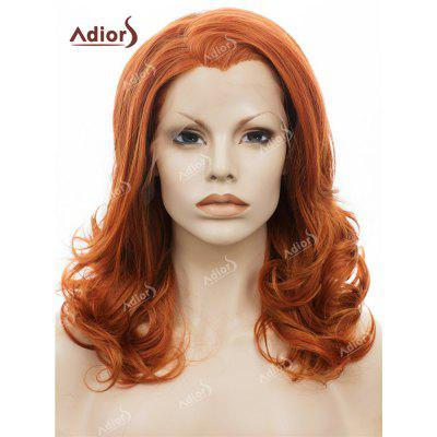 Adiors Long Side Swept Bang Shaggy Curly Lace Front Synthetic Wig