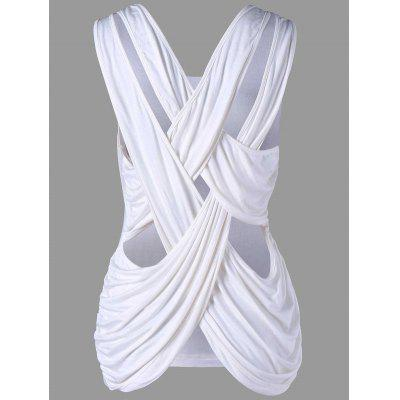 Buy WHITE XL Criss Cross Tank Top for $16.50 in GearBest store