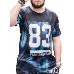 83 Print Short Sleeve Leaves Tee - BLACK