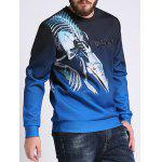 Ombre Color Mechanical Dragon imprimé plus taille Sweatshirt - MULTICOLORE