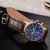 OUKESHI Roman Numeral Faux Leather Strap Watch - BLUE + BROWN