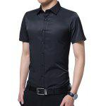 Short Sleeve Plain Shirt - BLACK