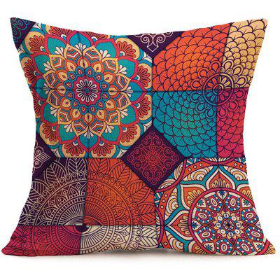 Bohemian Mandala Floral Print Pillow Case bedroom mandala feather print pompon round floor cushion pillow case