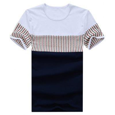 Striped Panel Short Sleeve Color Block Tee
