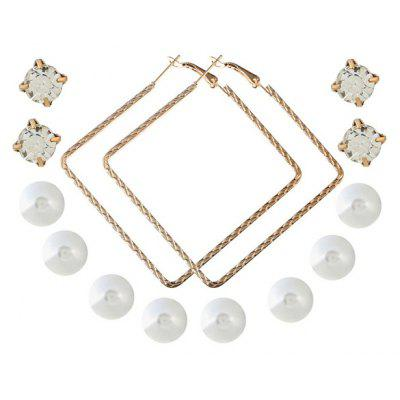 Buy GOLDEN Rhinestone Faux Pearl Tiny Earring Set for $3.20 in GearBest store