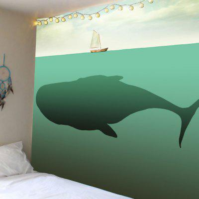 Whale Boat Print Wall Hanging Tapestry
