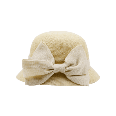 Ribbon Wide Bowknot Embellished Sun Hat
