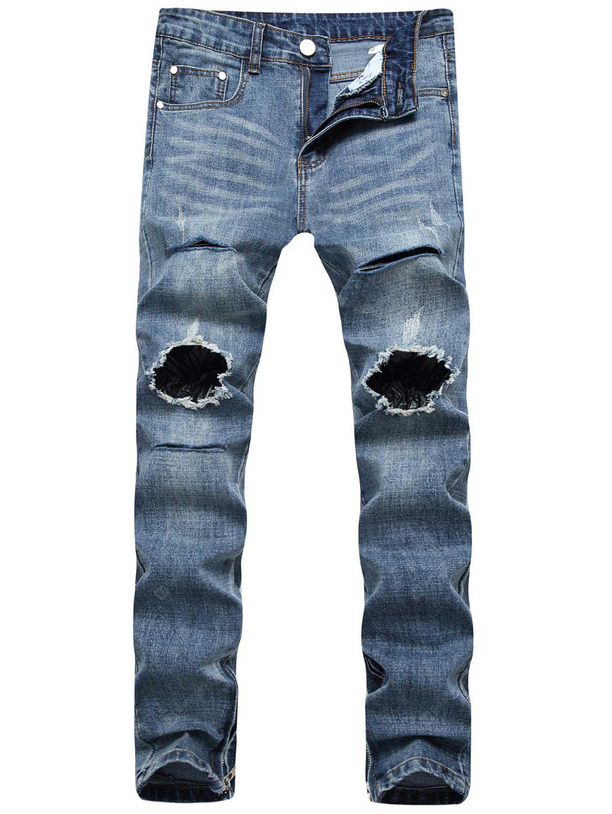 Ankle-Zip Destroyed Skinny Jeans