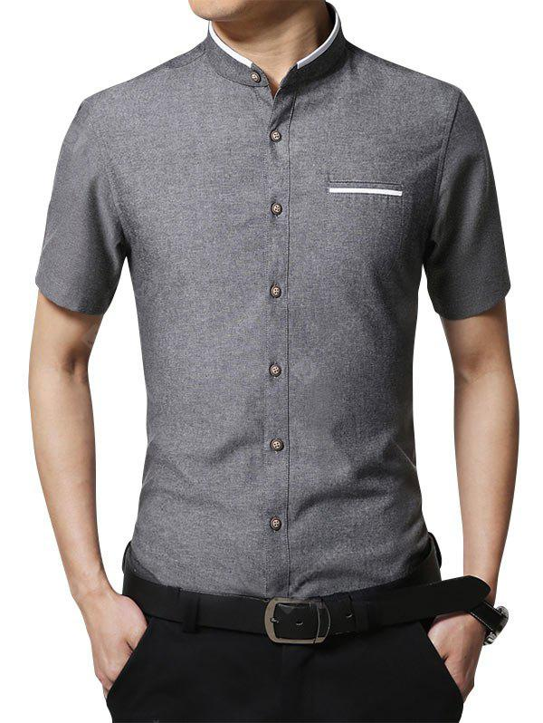 Mandarin Collar Faux Pocket Shirt