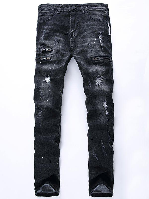 Zip Insert Painted Distressed Jeans