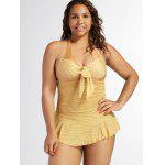 Halterneck Backless Lace Up Monokini Dress Swimwear - INGWER-GELB