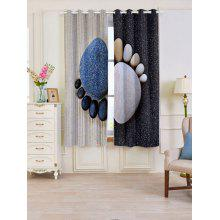 Stone Foot Pattern Blackout Window Curtains