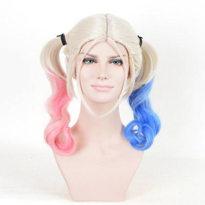 Long Middle Part Curly Bunches Harley Quinn Cosplay peruca sintética