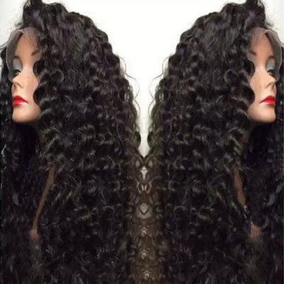 Ultra Long Side Bang Shaggy Deep Curly Lace Front peruca sintética