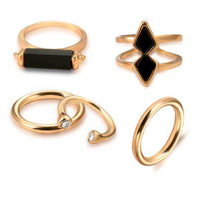 Geometric Vintage Cuff Ring Set