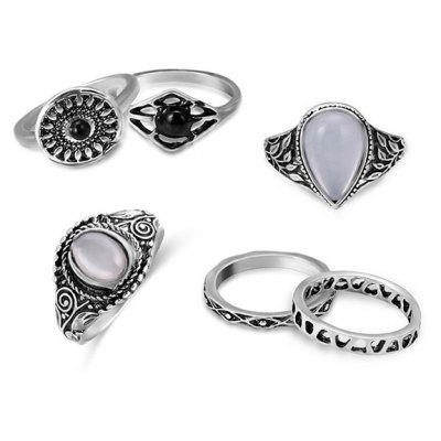 Vintage Faux Opal Teardrop Ring Set