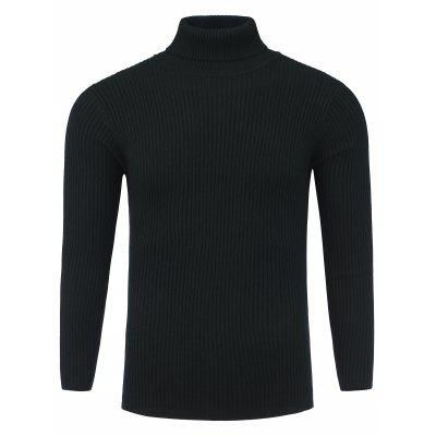 Buy BLACK Turtle Neck Vertical Knited Stretchy Ribbed Sweater for $26.43 in GearBest store
