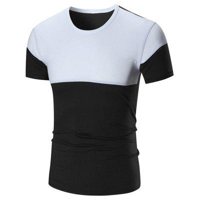 Color Block Stretch Crew Neck Tee