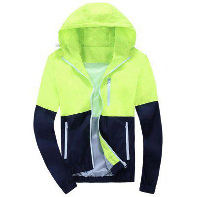 Zip Up Color Block Hooded Windbreaker
