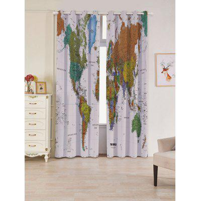 2 Panels World Map Print Blackout Window Curtains