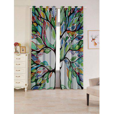 2 PCs Life of Tree Print Blackout Window Curtains