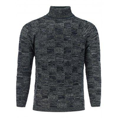 Buy DEEP GRAY Turtle Neck Checked Knit Blends Sweater for $30.71 in GearBest store