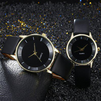Faux Leather Strap Minimalist Couple Watches
