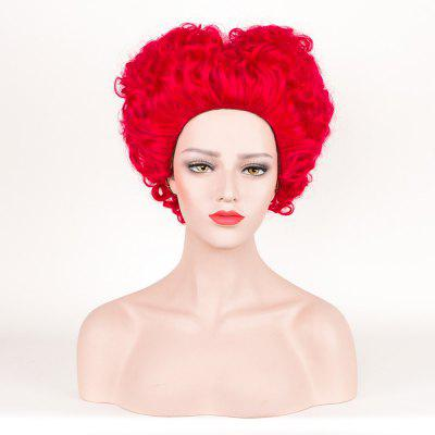Short Shaggy Curly Alice in Wonderland Red Queen Cosplay Synthetic Wig