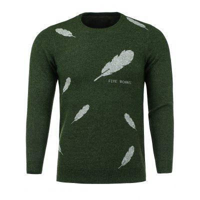 Crew Neck Feather Print Stretchy Sweater