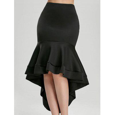 Buy BLACK M Ruffle Trim High Waisted High Low Skirt for $23.11 in GearBest store