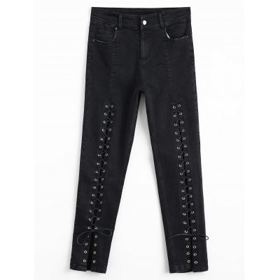 Buy BLACK L Lace Up High Waisted Pencil Jeans for $36.53 in GearBest store