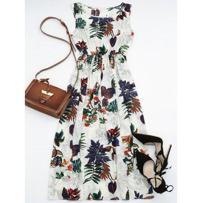 цены Leaf Print High Waisted Maxi Dress