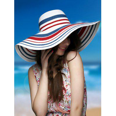 Wide Brim Striped Straw Hat