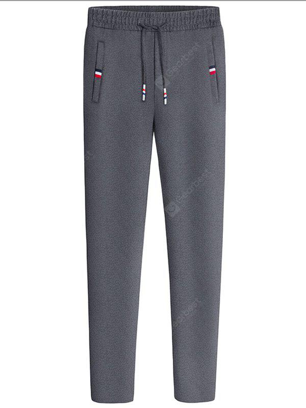 DEEP GRAY Straight Leg Drawstring Waist Sweatpants