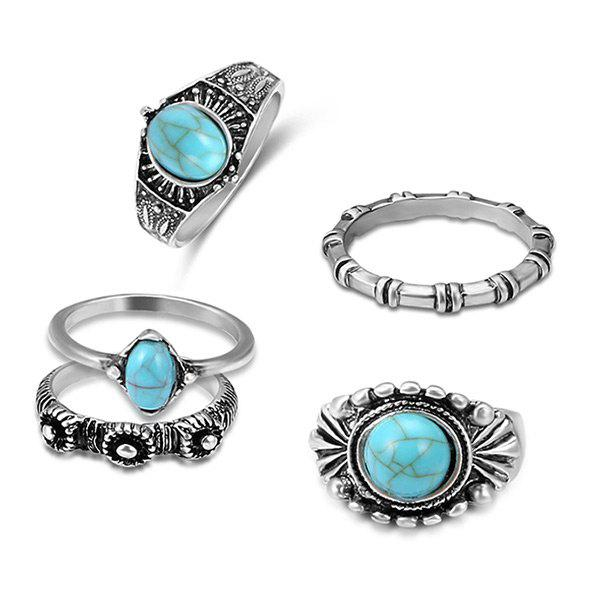 Bohemian Faux Turquoise Oval Ring Set