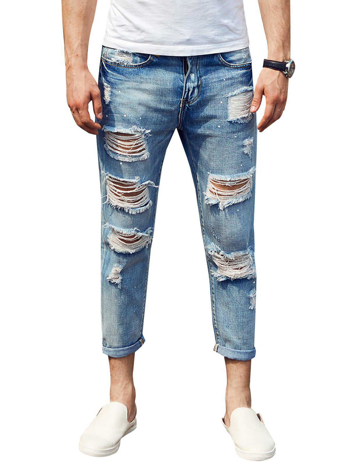 Distressed Zip Fly Cuffed Jeans