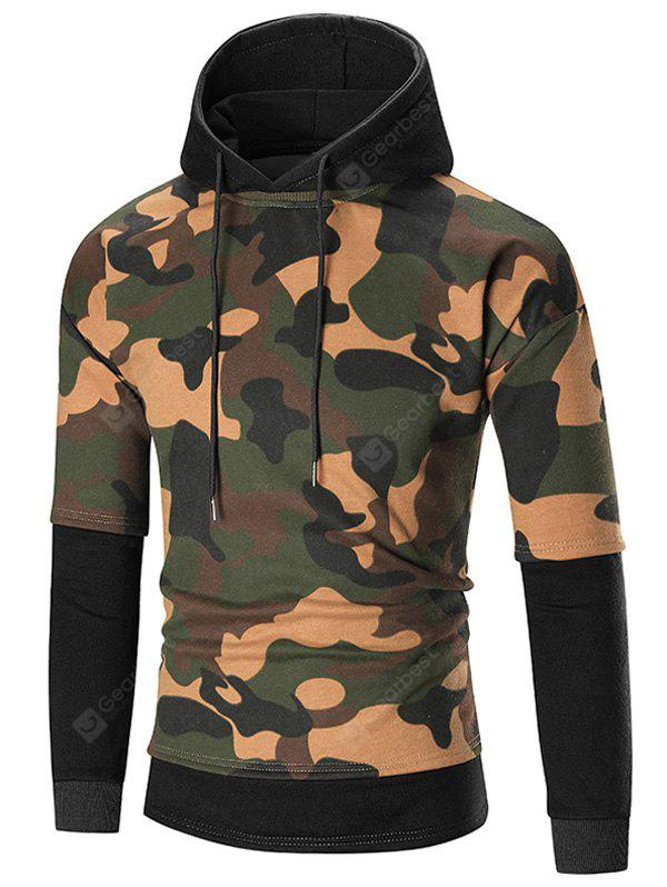 Color Block Camouflage Patterned Hoodie