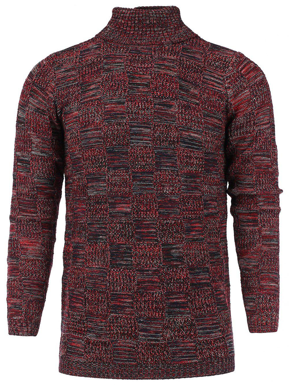 Turtle Neck Checked Knit Blends Sweater