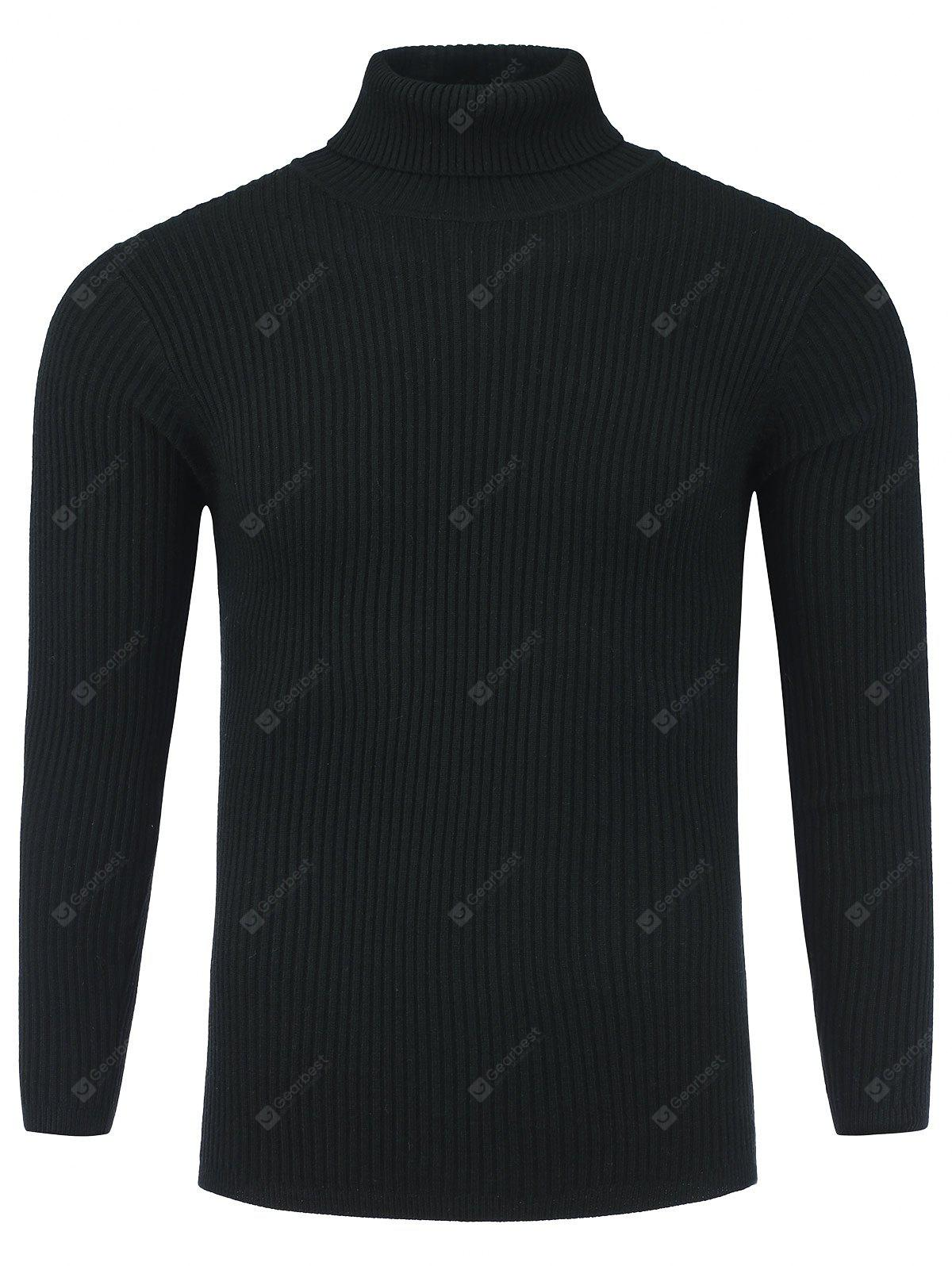 Turtle Neck Vertical Knited Stretchy Ribbed Sweater