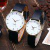 Faux Leather Strap Minimalist Couple Watches - WHITE + GOLD