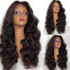 Long Middle Part Shaggy Body Wave Lace Front Synthetic Wig - BROWN
