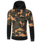 Color Block Camouflage Patterned Hoodie - BLACK