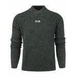 Loose Fit Drop Shoulder Graphic Embroidered Sweater - DEEP GRAY
