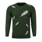 Crew Neck Feather Print Stretchy Sweater - ARMY GREEN