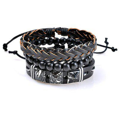 Faux Leather Woven Beaded Friendship Bracelets Set