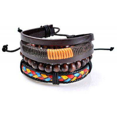 Multicolor Faux Leather Woven Beaded Bracelets Set