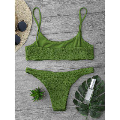 Cami Smocked Bikini Top and BottomsWomens Swimwear<br>Cami Smocked Bikini Top and Bottoms<br><br>Bra Style: Bralette<br>Elasticity: Elastic<br>Gender: For Women<br>Material: Nylon, Polyester, Spandex<br>Neckline: Spaghetti Straps<br>Package Contents: 1 x Top  1 x Bottoms<br>Pattern Type: Solid<br>Support Type: Wire Free<br>Swimwear Type: Bikini<br>Waist: Low Waisted<br>Weight: 0.2000kg