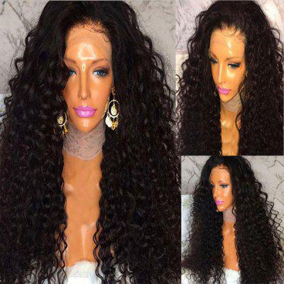 Long Side Part Shaggy Curly Lace Frente Cabelo Humano Peruca