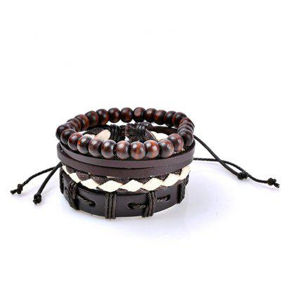 Retro Beads Faux Leather Woven Bracelets Set